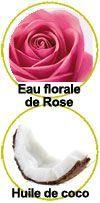 Actifs eau florale de rose bio et huile de coco bio