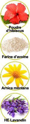 Actifs poudre d'hibiscus, farine d'avoine, extrait de fleur Arnica montana et huile essentielle de lavandin