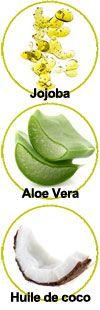 Actifs huile de jojoba, Aloe vera et huile de coco
