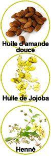Actifs huile de jojoba, huile d'amande et Henné