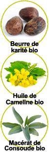 Actifs Beurre de karité, huile de cameline et macérat de consoude
