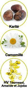 Actifs beurre de karité, camomille et huiles végétales de tournesol, amande et jojoba
