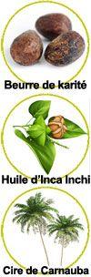 Beurre de karité, huile d'Inca Inchi et cire de Carnauba