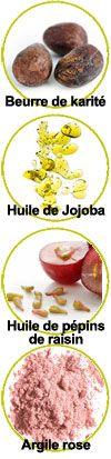 Actifs beurre de karité, huiles végétales de jojoba et de pépins de raisin, argile rose