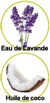 Actifs eau florale de lavande et huile de coco