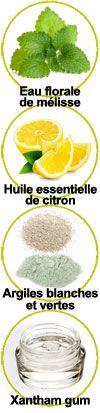 Eau florale de mélisse, huile essentielle de citron, argiles vertes et blanches et xantham gum