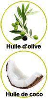Actifs huile d'olive et huile de coco