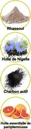 Actifs Rhassoul, huile végétale de Nigelle, Charbon actif et huile essentielle de pamplemousse