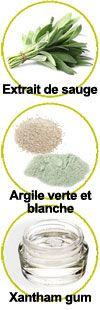 Extrait de sauge, argiles vertes et blanches et xanthan gum