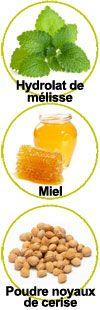 Actifs hydrolat de mélisse, miel et poudre de noyaux de cerise