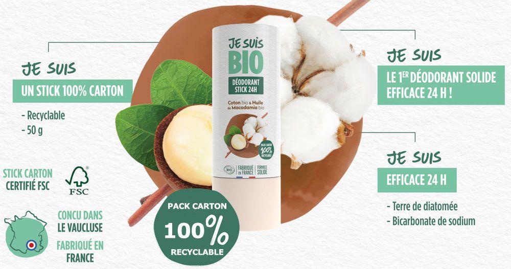 Déodorant stick solide bio Coton Macadamia