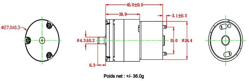 Détails des dimensions de la turbine