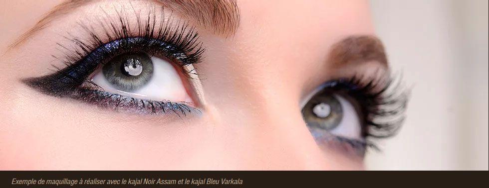 Exemple de maquillage à réaliser avec le Kajal Noir Assam et le Kajal Bleu Varkala Soultree